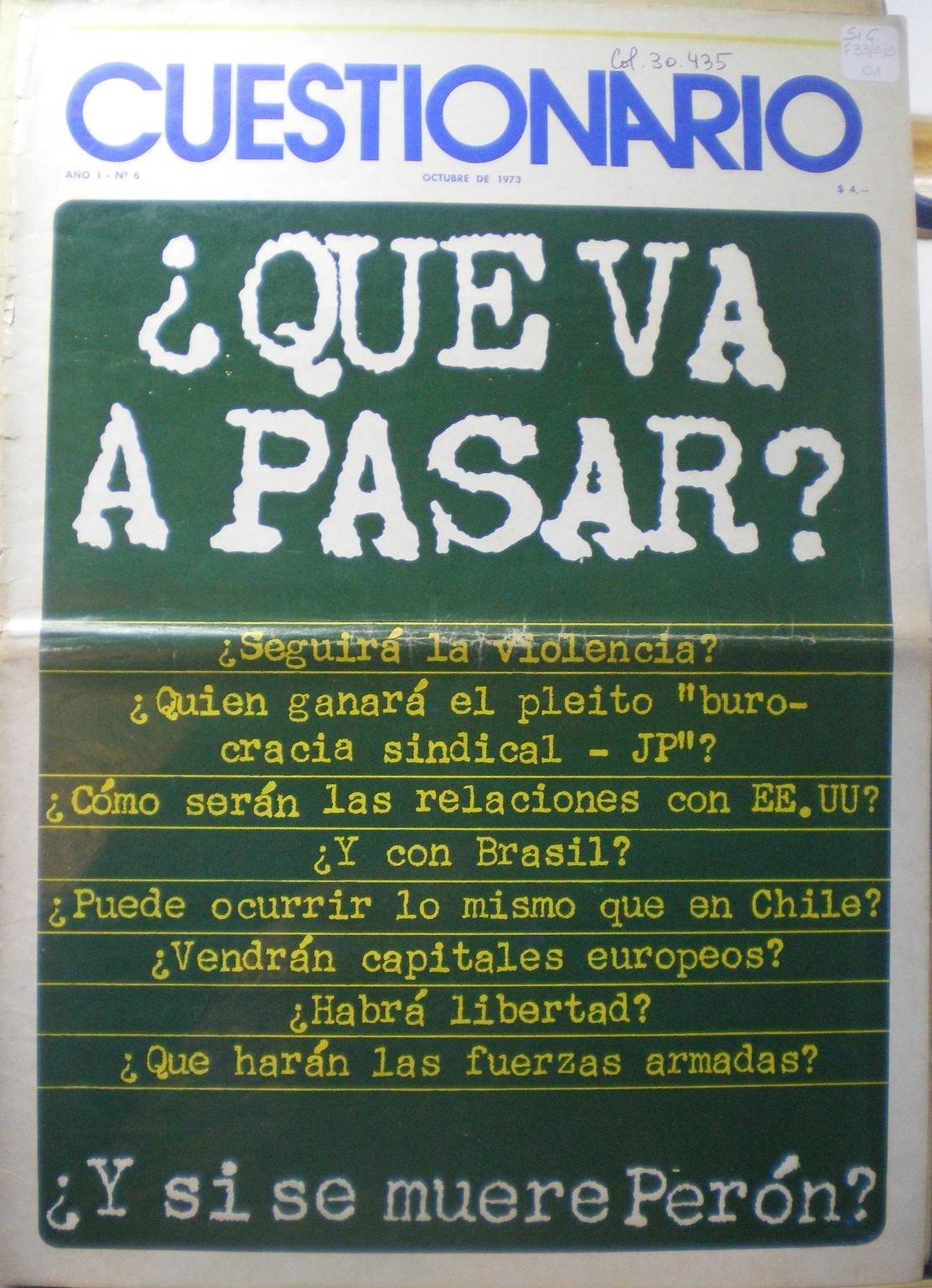 """Cuestionario realiza la pregunta tabú: """"¿Y si se muere Perón?"""" (octubre de 1973)"""