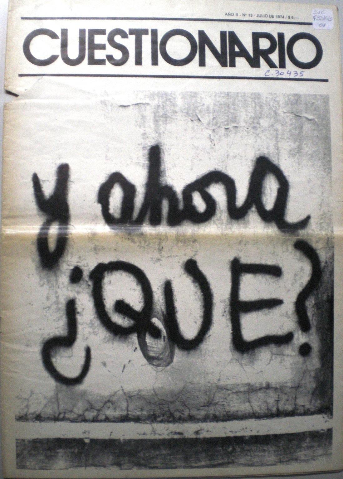 Cuestionario expresa la incertidumbre ante el fallecimiento de Perón (julio de 1974)